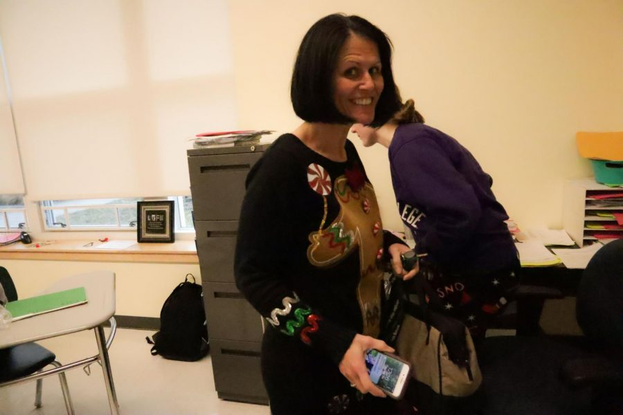 Health and Wellness teacher Mrs. Daisy dressed up in her gingerbread sweater during Ugly Sweater Day on Friday Dec. 21.