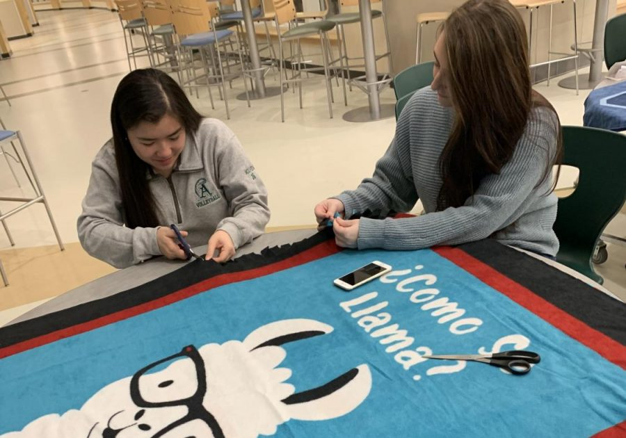 Seniors+Amanda+Nguyen+and+Christina+Varney+put+together+an+Annie%27s+Kindness+Blanket+during+a+blanket+making+event+at+Abington+High+School+on+Jan.+24.+Christina+Varney+and+her+sisters+Angela+and+Mia%2C+along+with+their+great+aunt+Barbara+Buckley%2C+started+the+Kindness+Campaign+after+the+girls%27+mother+Annie+Varney%2C+who+suffered+from+severe+depression%2C+took+her+life+in+2015.