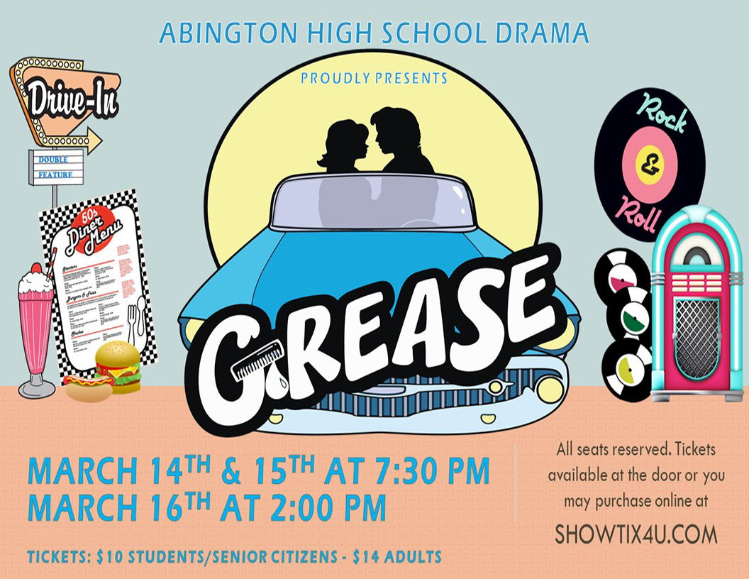 Abington High School Drama presents their second show of the season. After the fall production of The Laramie Project, the musical Grease will be performed in March. Tickets will go live in some time in February.