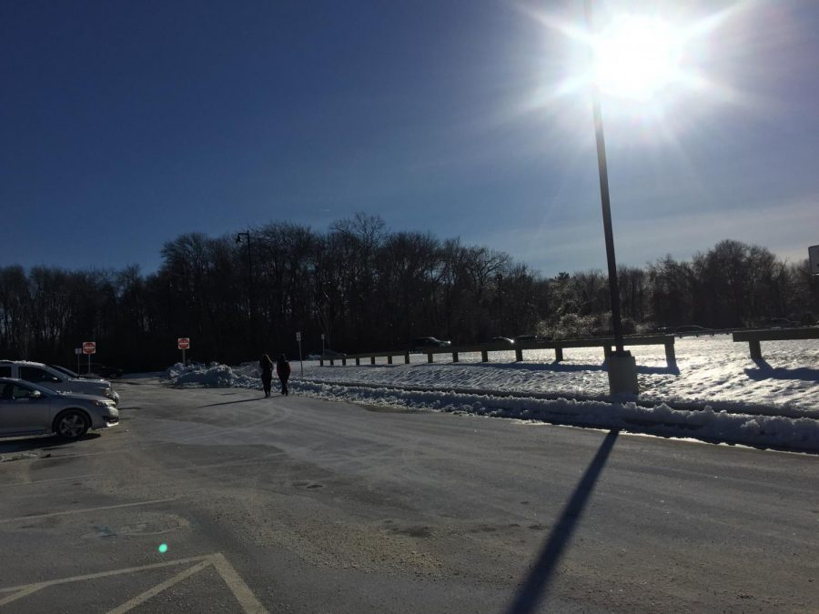 Grounds of AHS covered in snow and ice.