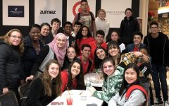 Students and teachers from Abington High School's Language Buddy Program enjoy time together during their Escape the Mystery Room field trip to Kingston on November 30, 2018. Front (left to right) are Brooke Callanan '20, Sthefany De Paula '21, Samantha Johnson '20, and Vianne Shao '20. In the second row (left to right) are Ms. Despres, ELL teacher, Valencia Bernard '20, Shaam Nasser '20, Faith Kramer '21, Hudson Arujo '21, Mayra Hidalgo '20, Ms. Scofano, ELL director, and Aiyana Matthis '21. Middle (left to right) are Ms. Nunes, ELL teacher, Bryan Dias '21, Helvecio Junior '22, Pedro Souza '21, Haikela Araujo '22, Samuel Carvalho '20, Sabrina Medieros '21, Luciano Da Silva '21, and Yousef Elhannawi '21. Standing in the rear (left to right) are Rafael Goncalves '20, Mikayla Littman '20, and Carolyn Doherty '21.