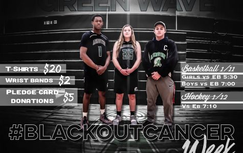 Senior captains Bryson Andrews (Boys Basketball), Kristyanna Remillard (Girls Basketball), and Ryan Doherty (Hockey), stand to #BlackOutCancer. On Friday, Jan. 11, students, faculty, and staff wore black to school. Basketball games took place January 11 with hockey playing on Jan. 12.