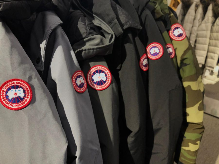 Canada Goose winter jackets, sold at high-end stores like these found at Nordstrom at the South Shore Plaza in Braintree, have been the target of PETA protests due to Canada Goose company's inhumane animal practice.