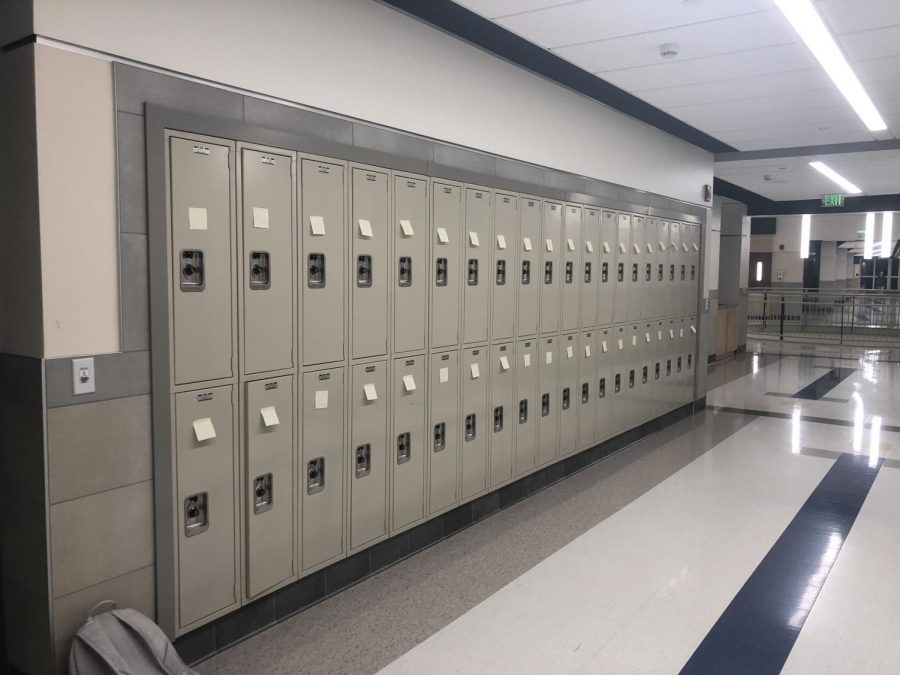On Friday, Feb. 8, lockers at Abington High School were lined with sticky notes reminding students that they mattered