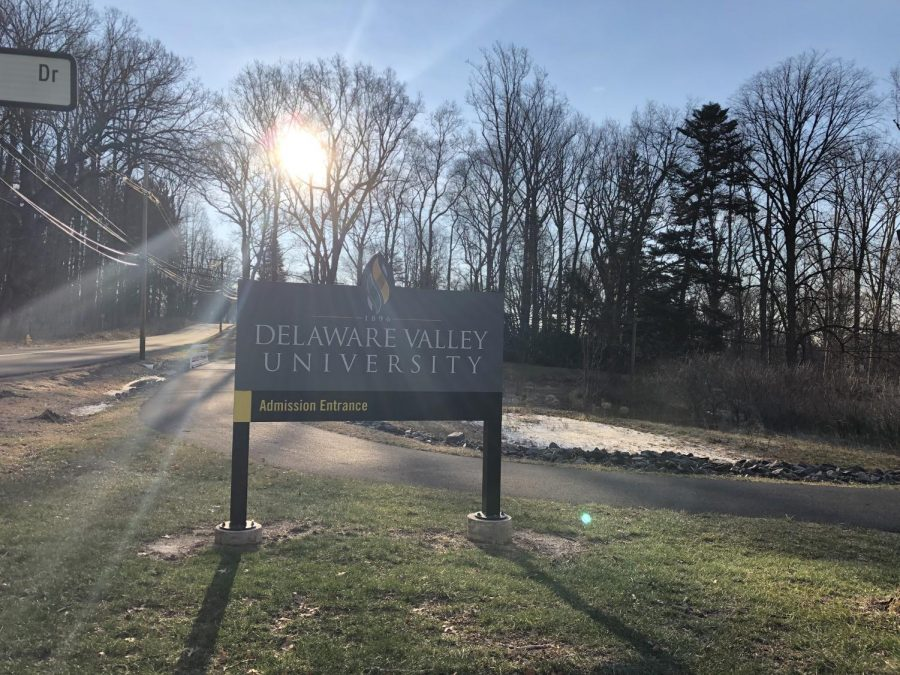 The ground was still wet though the grass was greening beneath a bright late morning sun on Friday, Jan. 25, 2019 at Delaware Valley University.