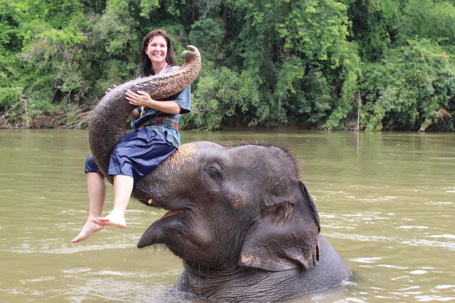 Sra. Flaherty makes friends with an elephant during one of her many trips abroad, this one to Thailand.