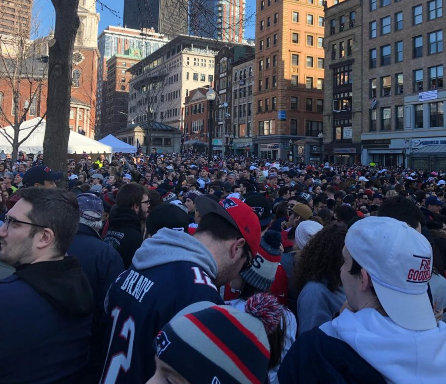 A sea of Patriots Fans stands on Tremont Street in Boston celebrating the Super Bowl LIII win by the Patriots. The Victory Parade rolled out on Tuesday, Feb. 5, 2019.