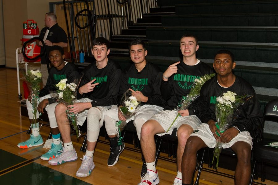 These six seniors of the Boys Varsity Basketball team at Abington High School have had an exciting season. Seated (left to right) Captain Bryson Andrews, Elijah Kramer, Dylan Magararu, Christian Labossier, and Josiah Rosa.