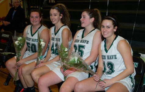 Seniors Madison O'Connell, Jessica Brundage, Kristyanna Remillard, and Maureen Stanton have had a tremendous run in their basketball careers at AHS. They were honored during Senior Night in the gym on February 15, 2019.