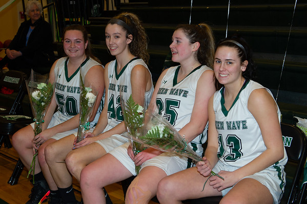Seniors Madison OConnell, Jessica Brundage, Kristyanna Remillard, and Maureen Stanton have had a tremendous run in their basketball careers at AHS. They were honored during Senior Night in the gym on February 15, 2019.
