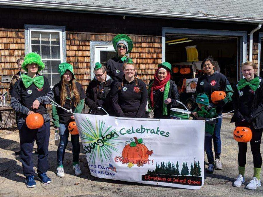 Abington Celebrates Christmas at Island Grove. Pictured are junior Bobby Molloy, senior Hannah Kearney, junior Haley Cooper, junior Emily Christian, junior Cameron Curney, junior Shaam Nasser, junior Erielle Amboy, and junior Sara Christian. This took place on March 17, 2019, Sunday. The students went around the town of Abington, starting by Santander Bank