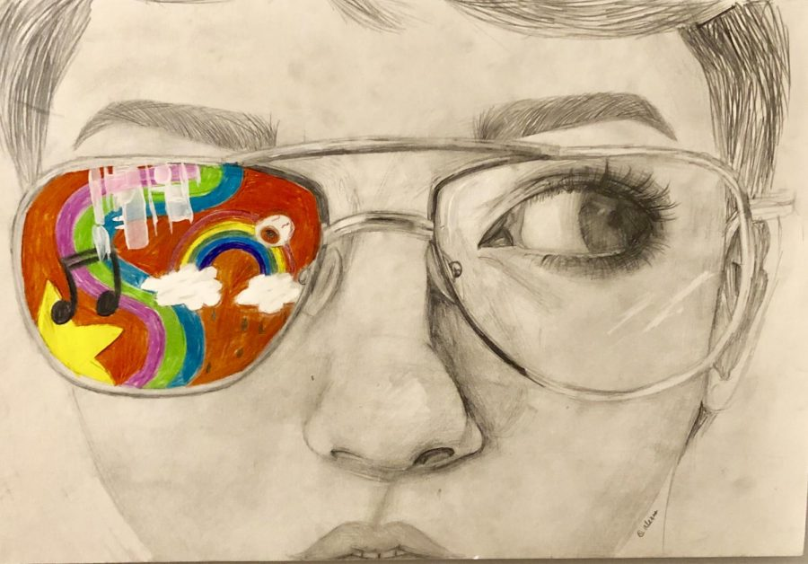 This self portrait drawing titled Artist's Vision was created by an Abington Middle School student, in grade 8, Alexis Mitsiopoulos for the Scholastic Art and Writing Awards 2018-2019.