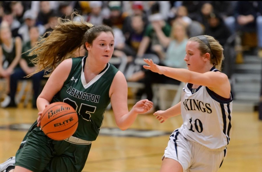 Senior+captain+Kristyanna+Remillard+drives+to+the+hoop+against+an+opponent+during+the+Abington+vs.+East+Bridgewater+Quarterfinals+on+March+2%2C+2019.