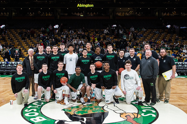 Abington+Boys+Basketball+team+and+coaches+at+the+TD+Garden+semi-finals+against+Pope+John+on%2C+Tuesday+March+12%2C+2019