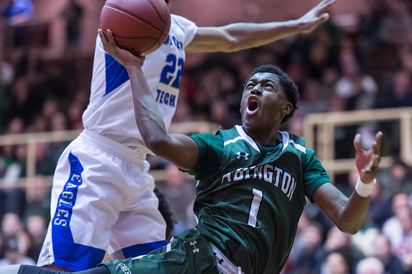 Bryson Andrews scored 32 points in the last game of his Abington High School career at WPI's Harrington Auditorium on March 16, 2019.