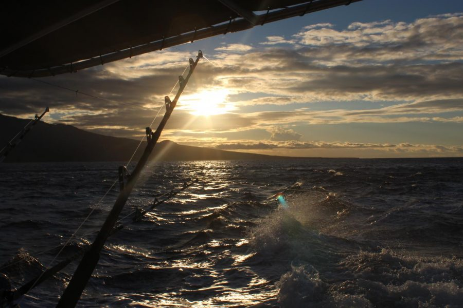 Audrey Goldberg, a freshman at Abington High School, watched the sunrise in Maui while fishing aboard the Rascal Charter with her family on February 24, 2019.