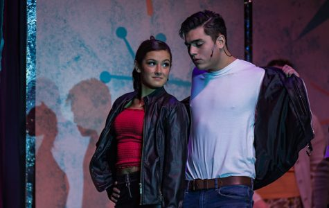 Sandra Dumbrowski, played by sophomore Lyla Blanchard, and Danny Zuko, played by senior Dylan Magararu in the final scene
