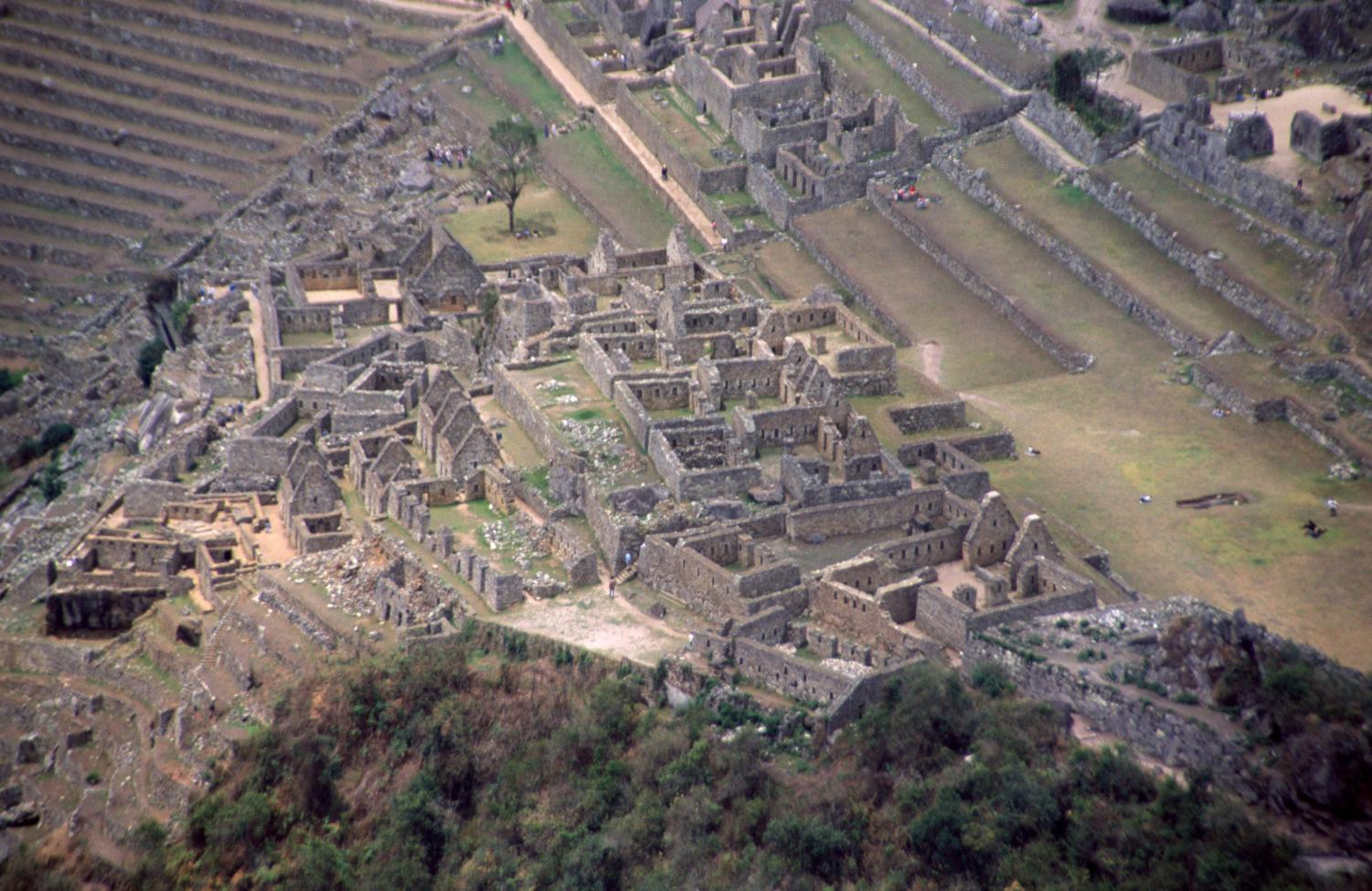 Machu Picchu in Perú. View of residential area and Central Square from the top of Wayna Picchu, taken October 6, 1998