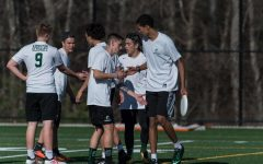 Current seniors Michael Boyle (#9), Jason Kinniburgh, Mohammad Zaidan, on the field with juniors Bobby Molloy, Connor Saccoach, and Cam Curney last year during an Ultimate game in the spring of 2018.