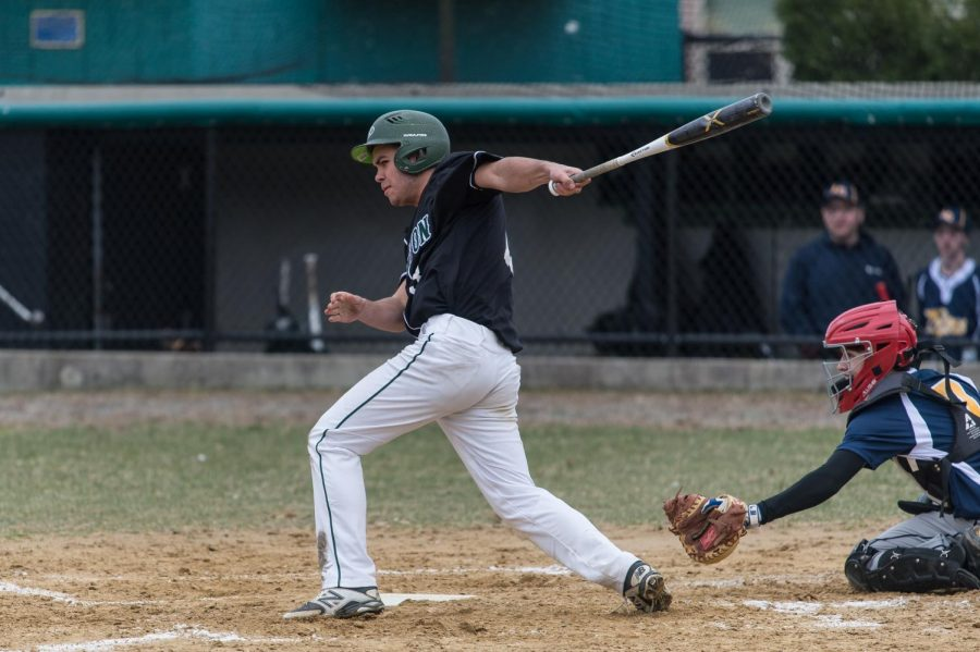 Abington junior Captain Sean Landers up at bat in a game against Atlantis Charter during the second game of the regular season, April 2019