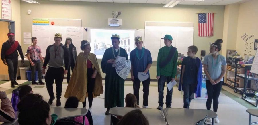 Freshmen+in+Ms.+Pflaumer%27s+English+class+perform+Romeo+and+Juliet.+Many+students+memorized+their+lines+and+some+made+their+own+costumes.