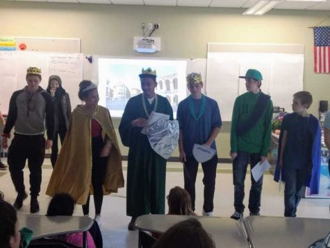 Freshmen in Ms. Pflaumer's English class perform Romeo and Juliet. Many students memorized their lines and some made their own costumes.