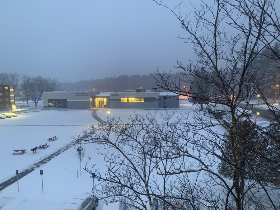 The+University+of+Maine+at+sunset+in+the+winter+of+2019.+Photo+of+Innovative+Media%2C+Research%2C+and+Commercialization+Center+and+Studio+Art+Center