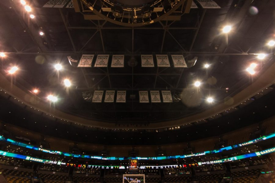 Celtics banners hang inside the TD Garden, Boston. December 2017.