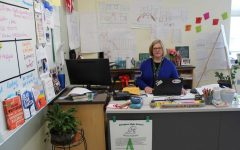Abington English teacher, department head, and advisor of ACE Dr. Elizabeth Gonsalves at her desk on May 1, assisting students in ACE.