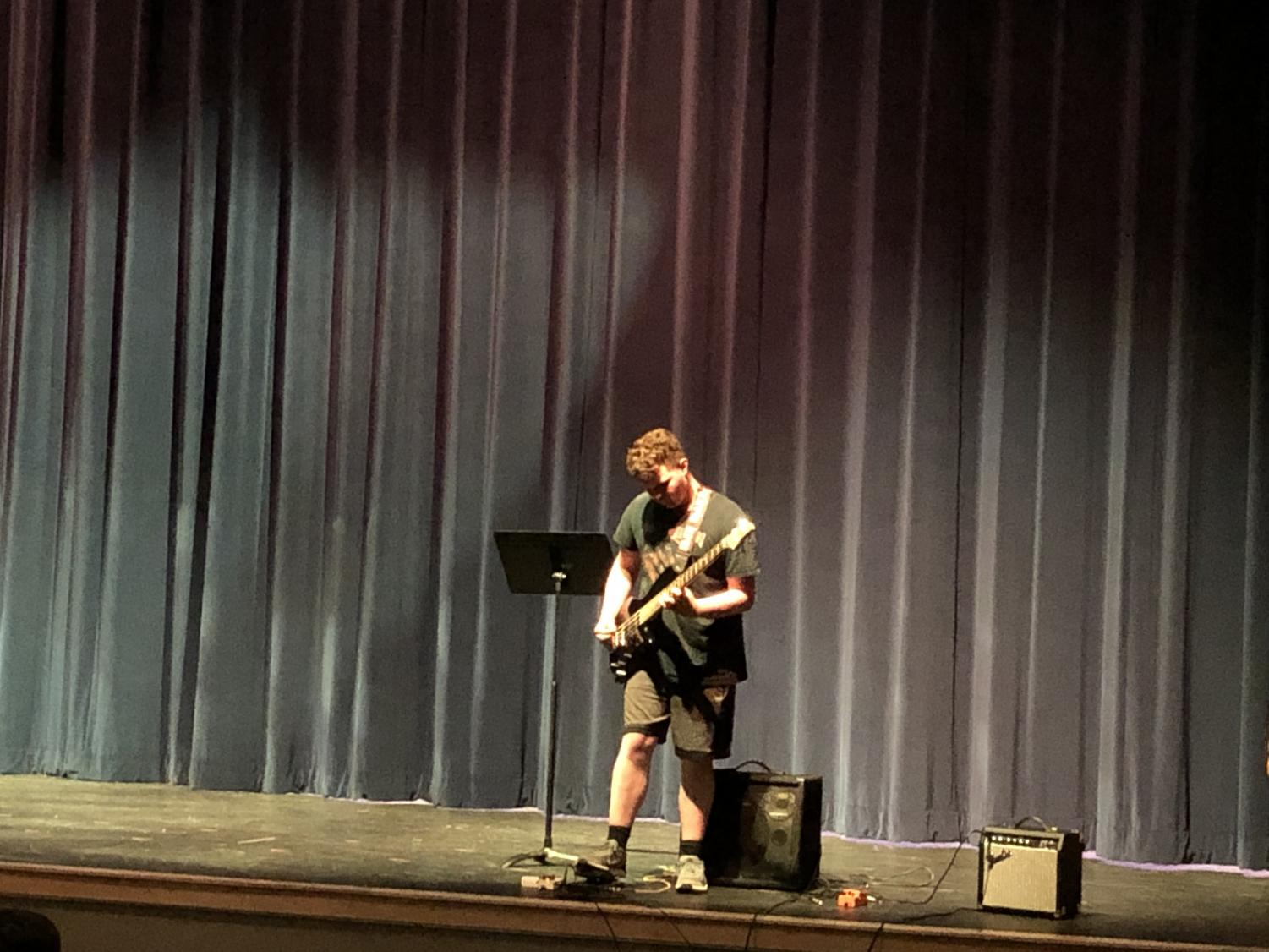 Josh Whitman, a freshman at Abington High School, performs at Open Mic Night on May 8, 2019
