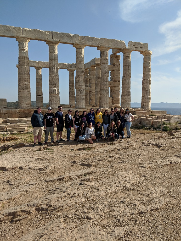 Abington High School students pose in front of one of the many ruins they saw on the Greece andItaly trip in 2017.