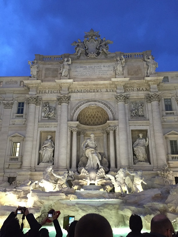 A famous fountain in Rome, the Trevi Fountain, was one of the many sights former Abington High students saw when they traveled to Italy in 2017