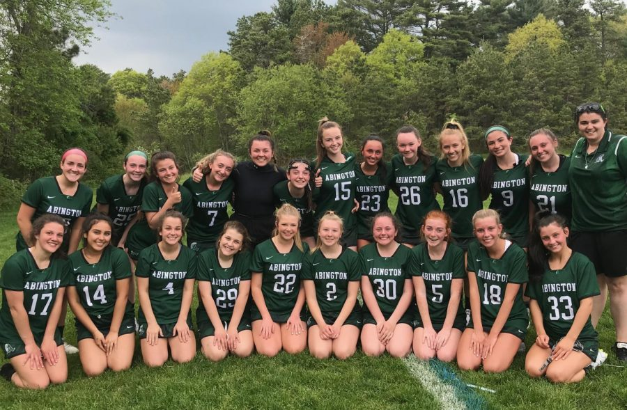 Abington Girls Lacrosse team on May 20, 2019.  Coach McManus is in the back row right.