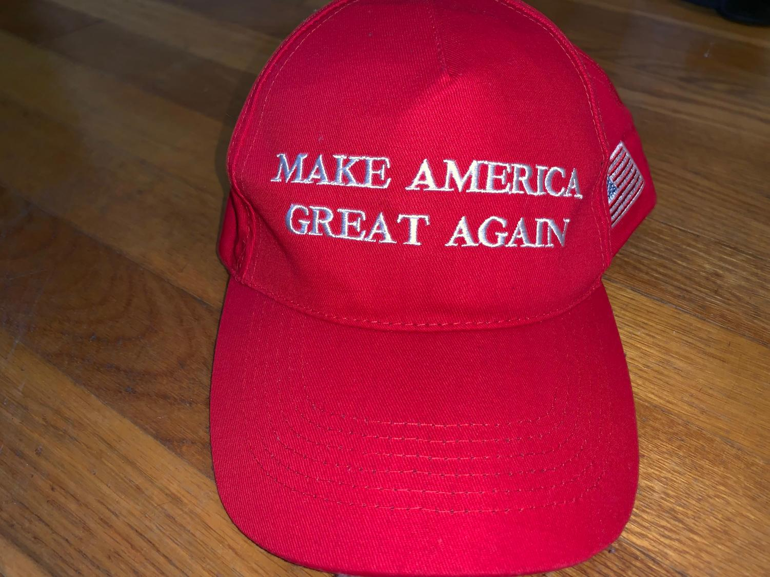 Make America Great Again hat is worn by many Trump supporters.