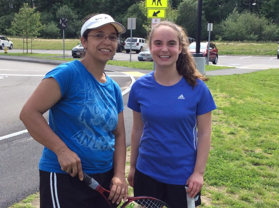 Spanish teacher Sra. Fry and sophomore Cecilia Lindo at the teacher-student tennis match at Abington High School on June 5, 2019.