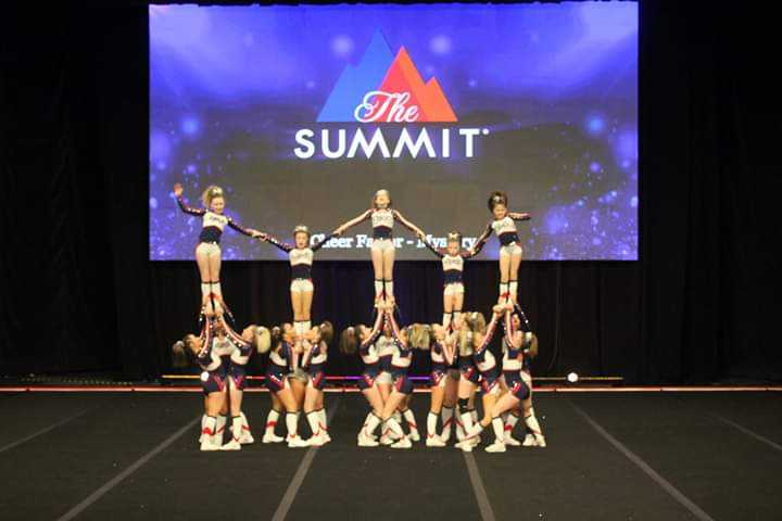 Freshman Rebecca Donahue and her cheerleading team performing at The Summit in Florida 2019