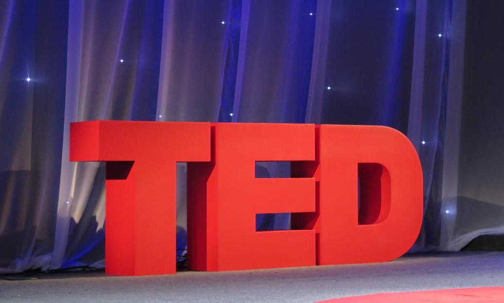 The TED stage logo is well-recognized by students and adults alike. This one was taken at a TED talk on 6 October 2016.