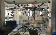 Students hang unique artwork from strings in Ms. Poirier's art room 2201 at Abington High School. June 4, 2019.