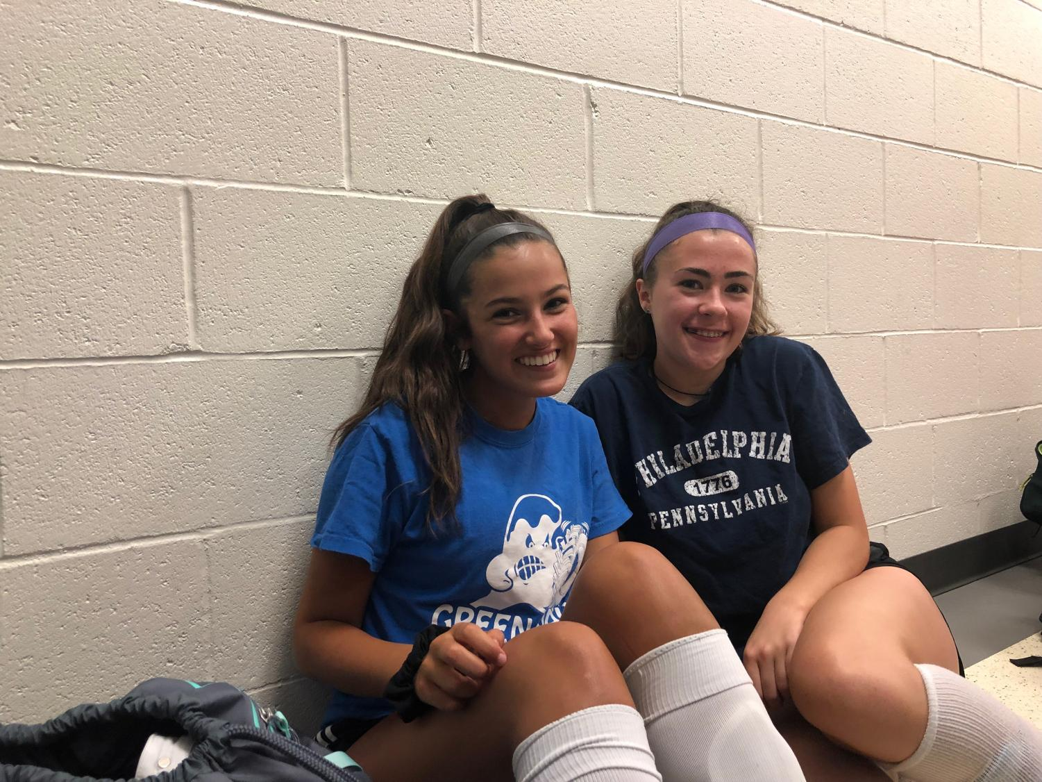 Juniors+Lyla+Blanchard+%28left%29+and+Lily+Bonner+getting+ready+for+their+first+after-school+soccer+practice+on+August+28%2C+2019+at+Abington+High