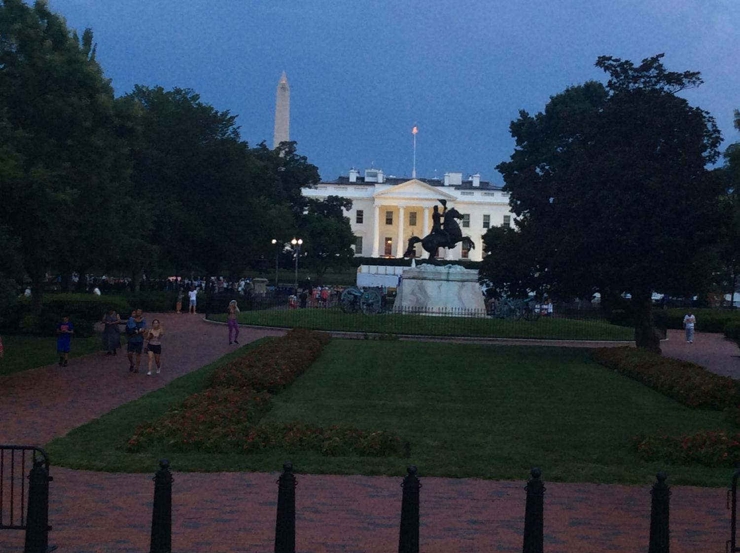 1600 Pennsylvania Avenue NW, Washington, D.C., home to the president of the United States, as seen on July 31, 2019. In the foreground is a statue of Andrew Jackson. In the rear is the Washington Monument.