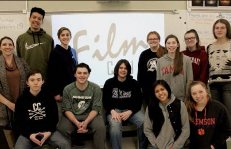 Members of Film Club 2018-2019 are senior Jonathan Aiello, junior Matt Lyons, junior Adian LaBillois, senoir Erielle Amboy and senior Shawna Phillips. Standing in the rear, left to right, are the advisor Ms. Michelle Poirier, senior Cam Curney, junior Derek Tirrell, senior Emily Christian, senior Erin McDermott, senior Haley Cooper, and senior Meagan McCadden.