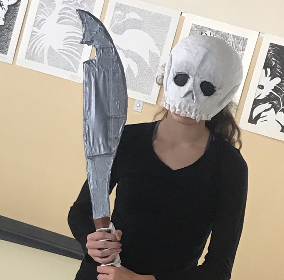 Sydney+Brundage%2C+a+sophomore+and+member+of+Ms.+Kenealy%27s+sculpture+class+modeling+her+wearable+are+on+Monday%2C+October+7%2C+2019.