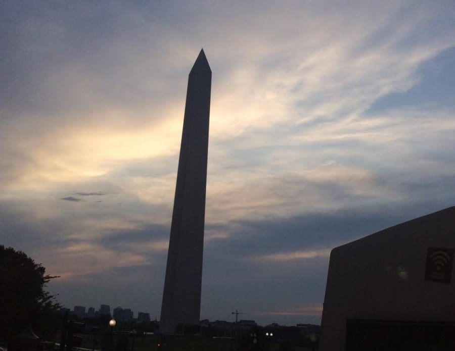 The Washington Monument and the Mall as seen on the evening of August 2, 2019.