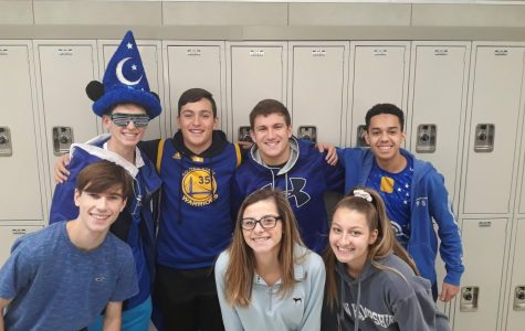 Abington High School seniors on Friday, November 22, 2019 during Spirit Week, wear blue in support of Color for a Cause Day.  Starting at Top left, Bobby Molloy, Connor Saccoach, Andrew Roy, Andre DaSilva, Drew Wilson, Allison Clark, and Hannah Liebke.