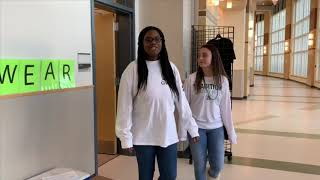 Abington seniors Linda Daye and Kayla Larkin-Goodman leaving the high school's new store Wave Wear, which opened on Monday, November 18, 2019.