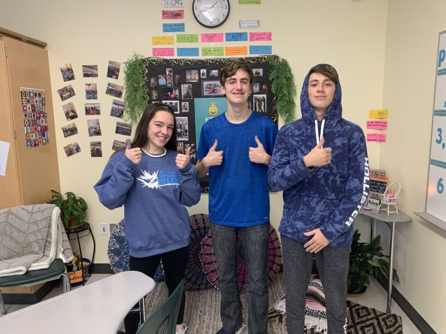 Maria Wood, Chris Lussier, and Colby Trent, sophomores at Abington High School, wear blue in support of Color for a Cause during Spirit Week on Friday, November 22, 2019.