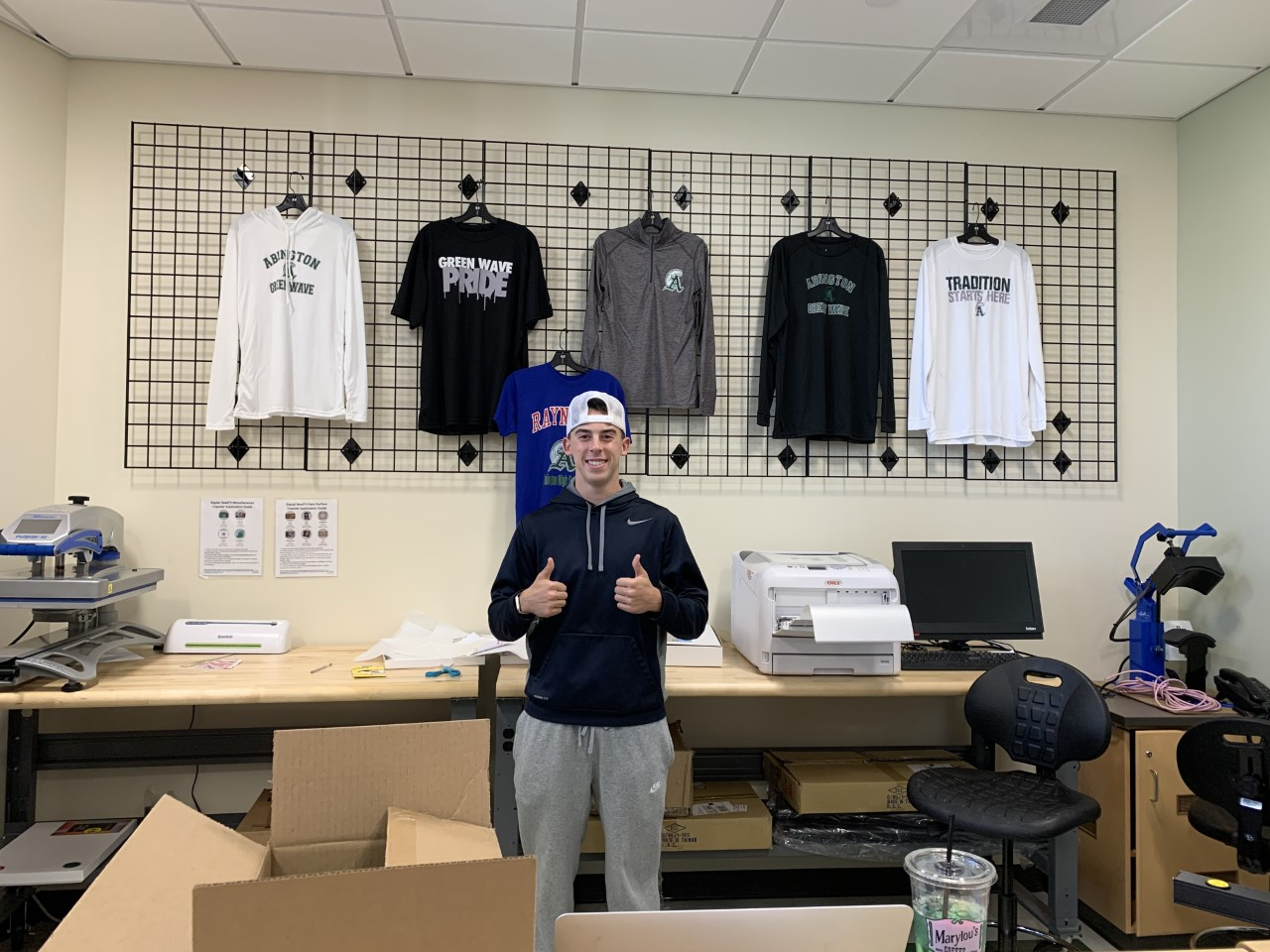 Abington High School senior Colby Augusta is a member of Ms. Howell's marketing class who will be opening a story Wave Wear on Monday, November 18, 2019.