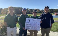 Senior John Mueller (far left), senior Colin McDonald, junior Connor Buckley, and senior Johnny Hawkesworth (far right) on Oct. 23 at the South Shore Leagure All-League match.