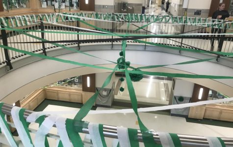 The second floor rotunda at Abington High School was streaming with Green Wave Pride on Tuesday, November 26, 2019 after school in preparation for tomorrow's Pep Rally.