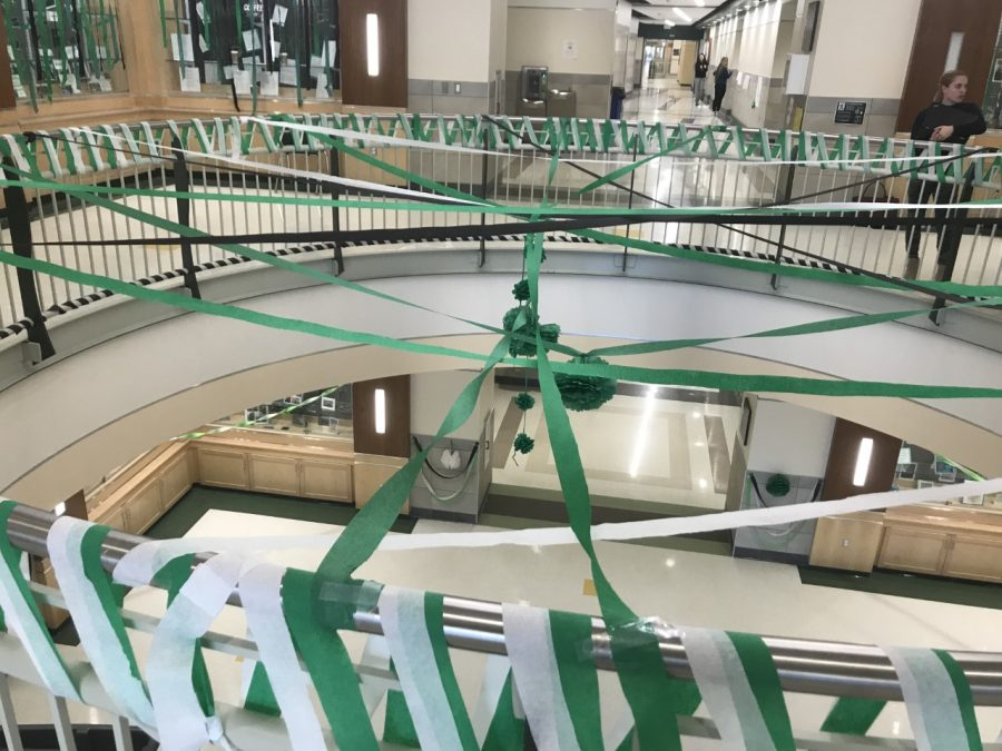 The second floor rotunda at Abington High School was streaming with Green Wave Pride on Tuesday, November 26, 2019 after school in preparation for tomorrows Pep Rally.